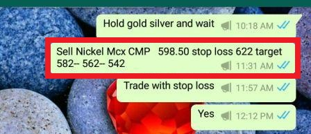 Nickel MCX Sell Call Rocking 598.50 to 573 Enjoy
